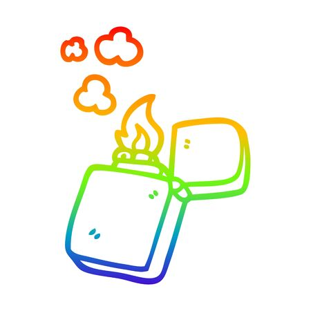 rainbow gradient line drawing of a cartoon gold lighter 向量圖像