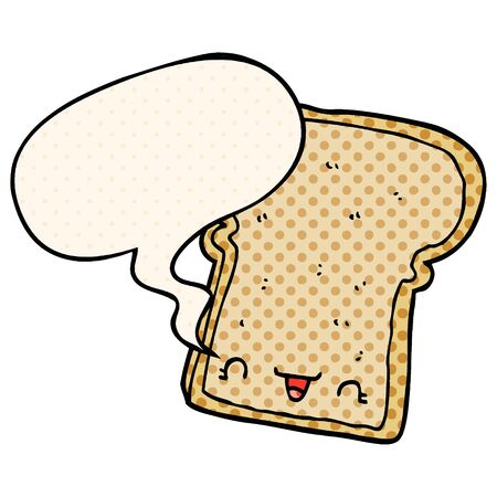 cute cartoon slice of bread with speech bubble in comic book style