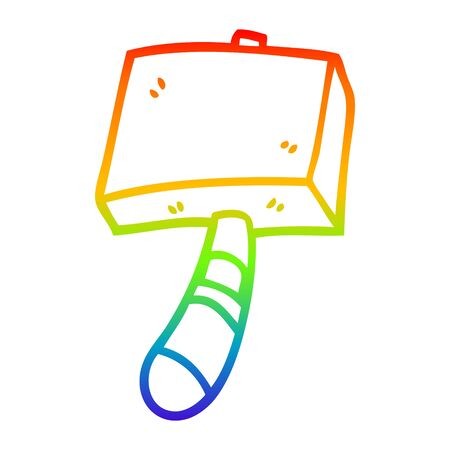 rainbow gradient line drawing of a cartoon hammer