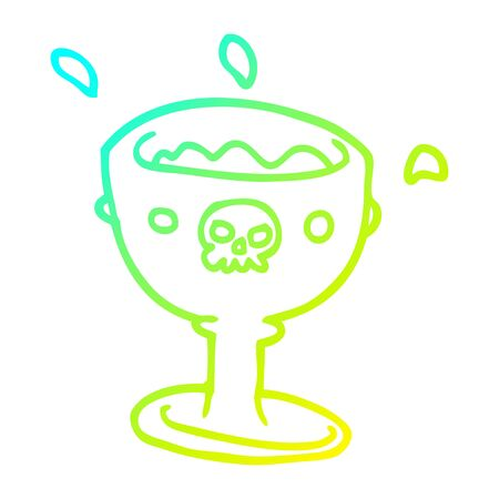 cold gradient line drawing of a cartoon goblet