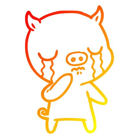 warm gradient line drawing of a cartoon pig crying  イラスト・ベクター素材