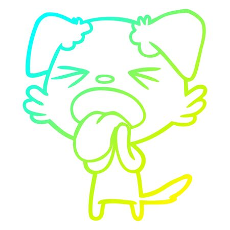 cold gradient line drawing of a cartoon disgusted dog