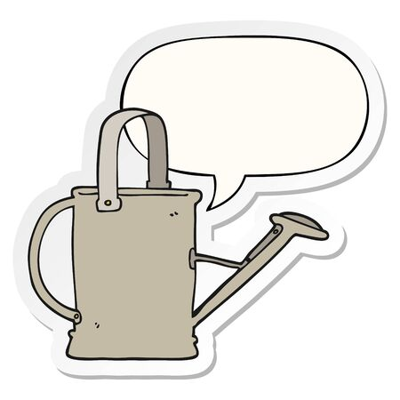cartoon watering can with speech bubble sticker