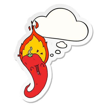 cartoon flaming hot chili pepper with thought bubble as a printed sticker Ilustração