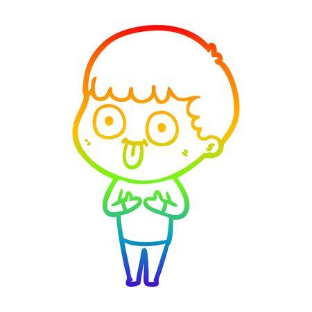 rainbow gradient line drawing of a cartoon man staring