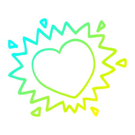 cold gradient line drawing of a cartoon love heart 일러스트
