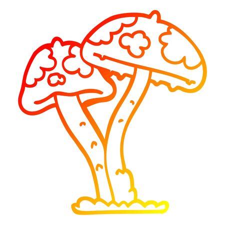 warm gradient line drawing of a cartoon mushroom Illusztráció