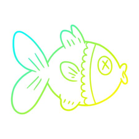 cold gradient line drawing of a cartoon goldfish Stock Illustratie