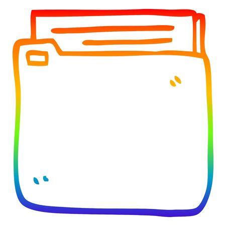 rainbow gradient line drawing of a cartoon file Ilustracja