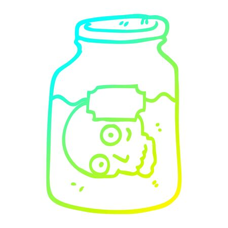 cold gradient line drawing of a cartoon head in jar Çizim