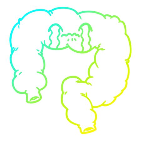 cold gradient line drawing of a cartoon colon