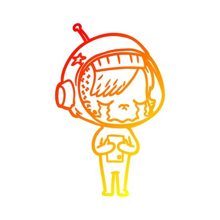 warm gradient line drawing of a cartoon crying astronaut girl Foto de archivo - 129941913