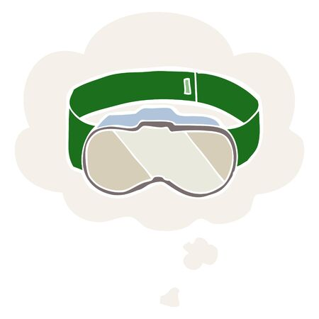 cartoon goggles with thought bubble in retro style