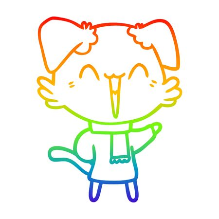 rainbow gradient line drawing of a happy little cartoon dog in winter clothes Ilustracja