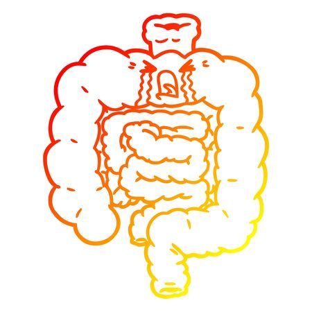 warm gradient line drawing of a cartoon intestines crying