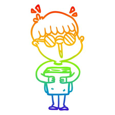 rainbow gradient line drawing of a cartoon boy and book