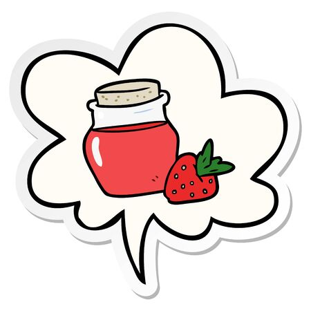 cartoon jar of strawberry jam with speech bubble sticker
