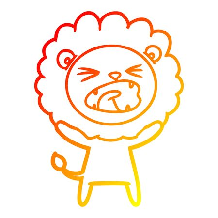 warm gradient line drawing of a cartoon lion