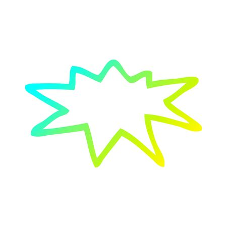 cold gradient line drawing of a cartoon explosion symbol