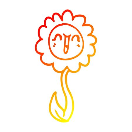 warm gradient line drawing of a cartoon happy flower