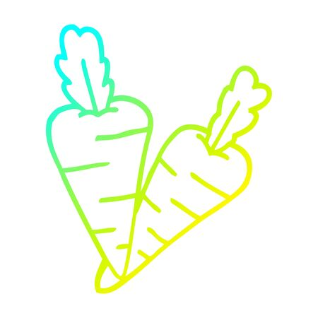 cold gradient line drawing of a cartoon organic carrots