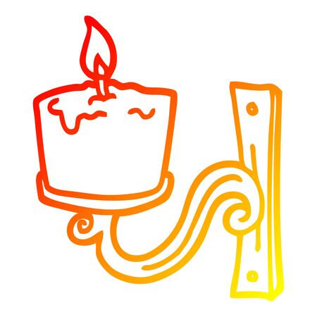 warm gradient line drawing of a cartoon old candle holder