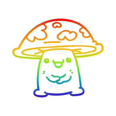 rainbow gradient line drawing of a cartoon mushroom character