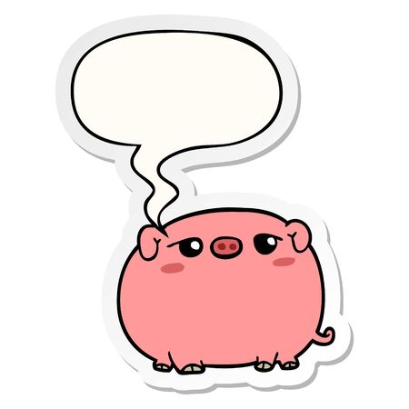 cute cartoon pig with speech bubble sticker