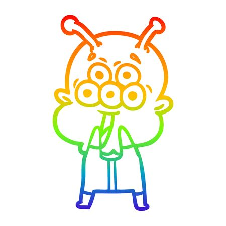 rainbow gradient line drawing of a happy cartoon alien gasping in surprise