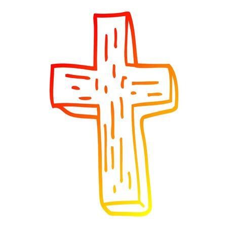warm gradient line drawing of a cartoon anti vampire cross