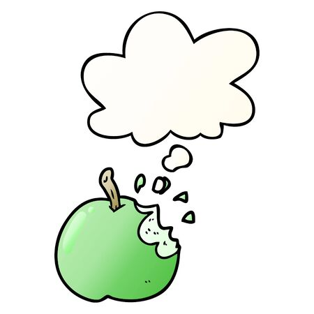 cartoon bitten apple with thought bubble in smooth gradient style