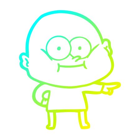 cold gradient line drawing of a cartoon bald man staring
