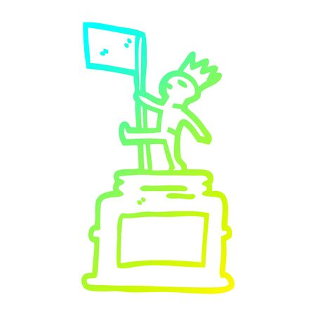 cold gradient line drawing of a cartoon monument statue