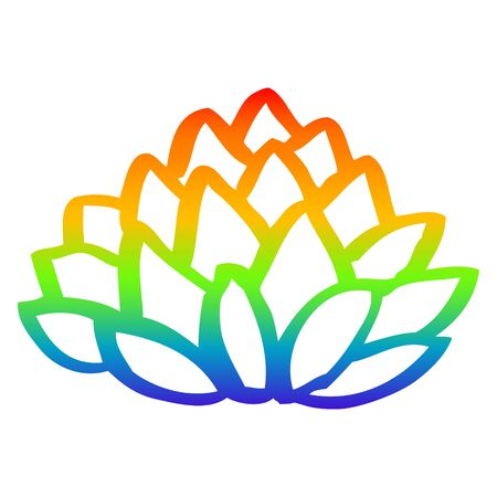 rainbow gradient line drawing of a cartoon flowering lotus