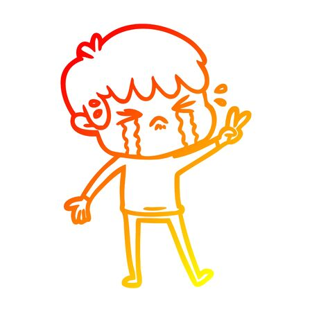 warm gradient line drawing of a cartoon boy crying  イラスト・ベクター素材