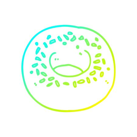 cold gradient line drawing of a cartoon donut