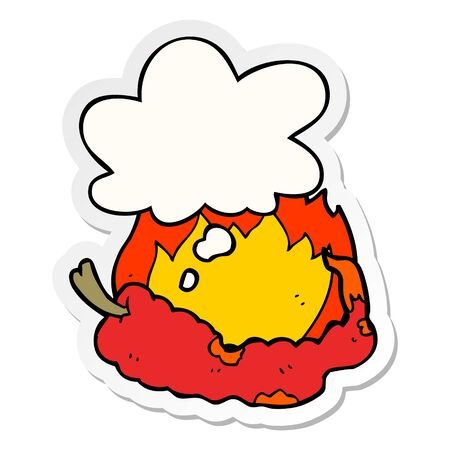 cartoon hot chili pepper with thought bubble as a printed sticker