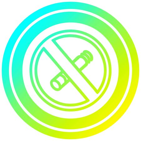 no smoking circular icon with cool gradient finish