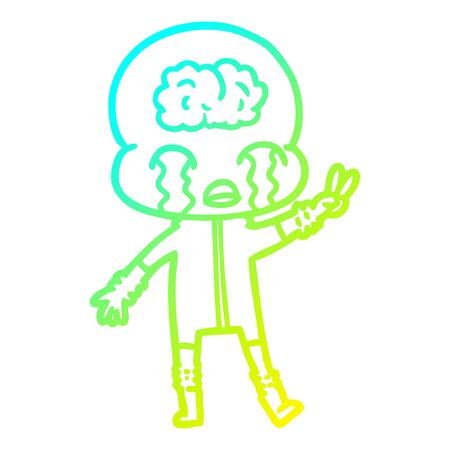 cold gradient line drawing of a cartoon big brain alien crying and giving peace sign  イラスト・ベクター素材