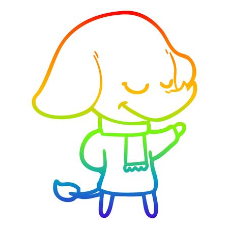rainbow gradient line drawing of a cartoon smiling elephant wearing scarf Ilustracja
