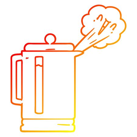 warm gradient line drawing of a cartoon electric kettle boiling