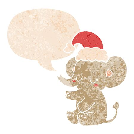 cute christmas elephant with speech bubble in grunge distressed retro textured style