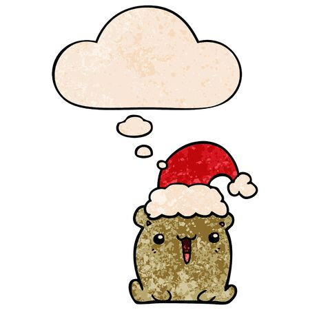 cute cartoon bear with christmas hat with thought bubble in grunge texture style
