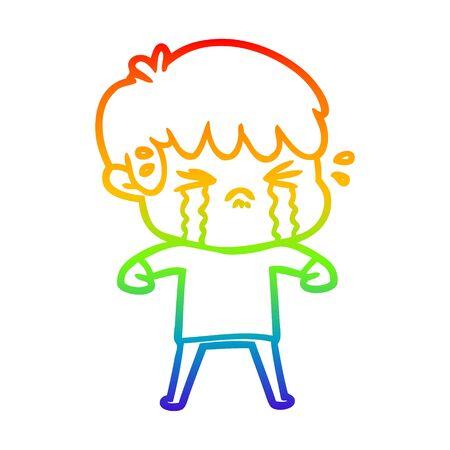 rainbow gradient line drawing of a cartoon boy crying