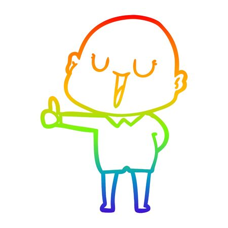 rainbow gradient line drawing of a happy cartoon bald man