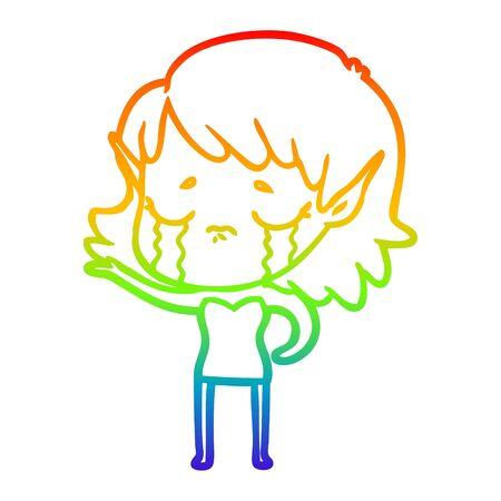rainbow gradient line drawing of a cartoon crying elf girl