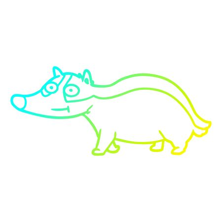 cold gradient line drawing of a cartoon friendly badger