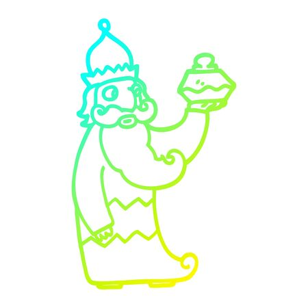 cold gradient line drawing of a one of the three wise men cartoon