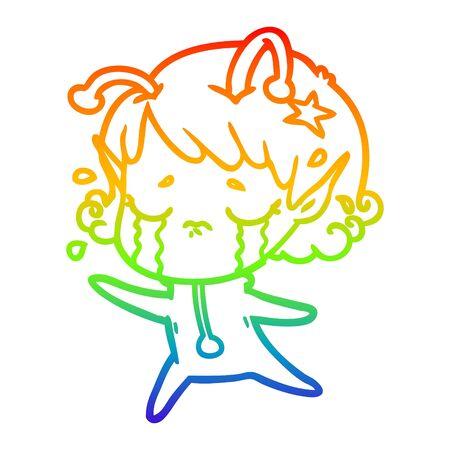 rainbow gradient line drawing of a cartoon crying alien girl  イラスト・ベクター素材