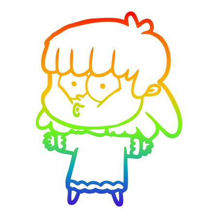 rainbow gradient line drawing of a cartoon whistling girl Illustration